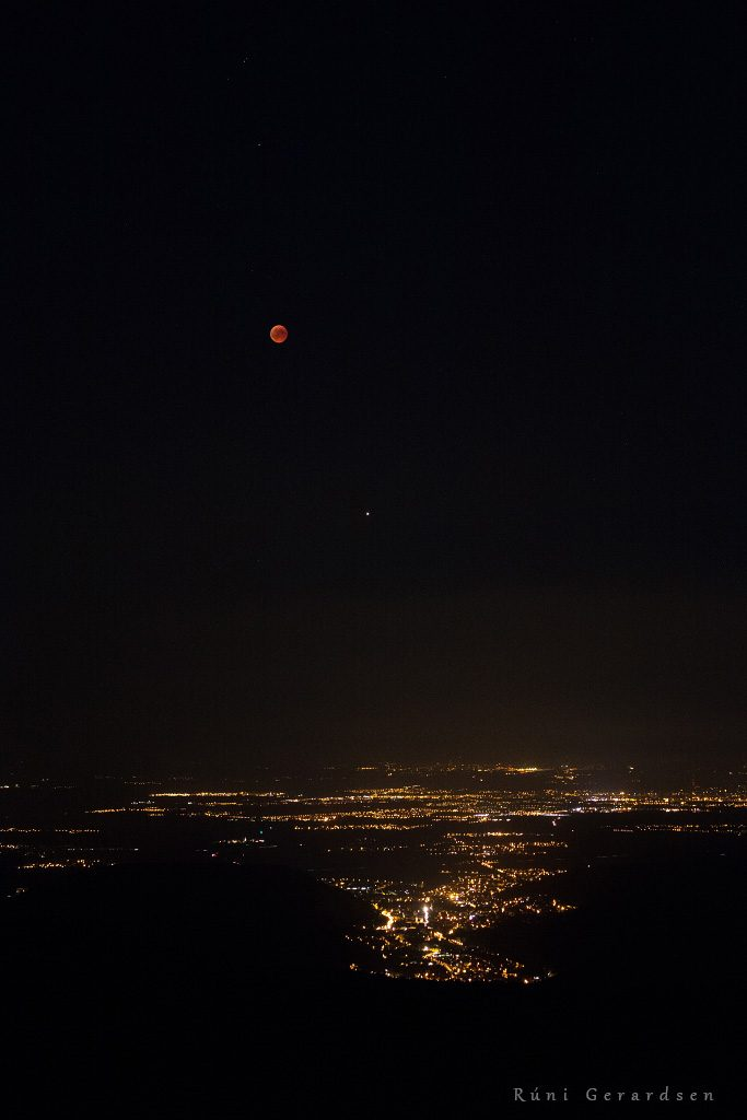 Lunar eclipse above Alsace